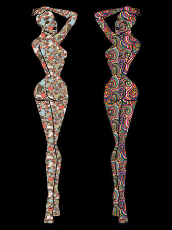 Stencils of female bodies decorated with different patterns, silhouettes isolated on a black background
