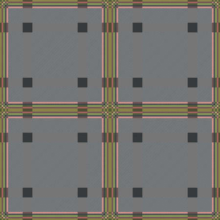 Motley seamless rectangular vector pattern as a tartan plaid mainly muted grey hues with colourful lines, texture for flannel shirt, plaid, tablecloths, clothes, blankets and other textile Stock Illustratie