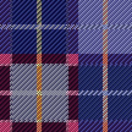 Tartan Scottish seamless pattern in muted blue, violet, pink and grey colors, texture for flannel shirt, plaid, tablecloths, clothes, blankets and other textile Ilustracja
