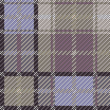 Rectangular seamless vector pattern as a tartan plaid mainly in khaki, brown, magenta and violet hues, texture for flannel shirt, plaid, tablecloths, clothes, blankets and other textile