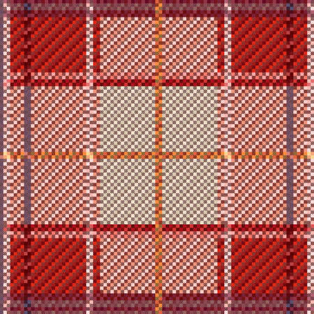 Rectangular seamless vector pattern as a tartan plaid mainly in hues, texture for flannel shirt, plaid, tablecloths, clothes, blankets and other textile