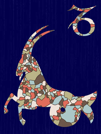 Zodiac sign Capricorn fill with colorful muted mosaic shapes on the dark blue background with astrological symbols, vector illustration Ilustracja