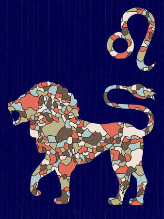 Zodiac sign Leo fill with colorful muted mosaic shapes on the dark blue background with astrological symbols, vector illustration Stock Illustratie