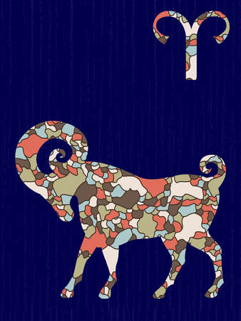 Zodiac sign Aries fill with colorful muted mosaic shapes on the dark blue background with astrological symbols, vector illustration