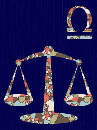 Zodiac sign Libra fill with colorful muted mosaic shapes the dark blue background with astrological symbols, vector illustration