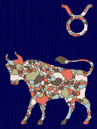 Zodiac sign Taurus fill with colorful muted mosaic shapes on the dark blue background with astrological symbols, vector illustration