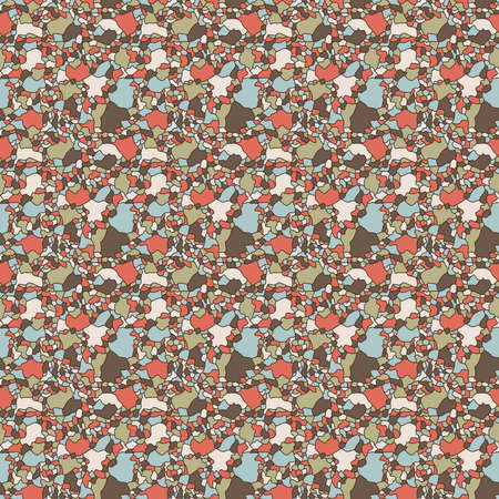Seamless abstract pattern with multicolor muted mosaic shapes, hand drawing vector Stock Illustratie
