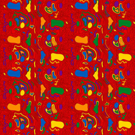 Seamless abstract pattern mainly in red with multicolor shapes, hand drawing vector
