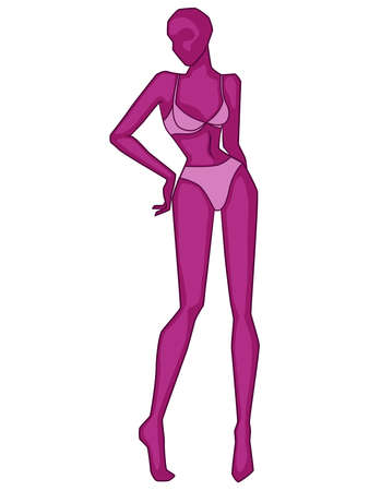 Abstract silhouette graceful and slender lady in lingerie, vector illustration in magenta hues isolated on white background