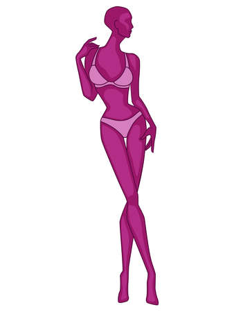 Abstract silhouette of slender woman in underwear, vector illustration in magenta hues isolated on white background