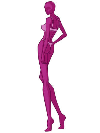Abstract silhouette of elegant lady in underwear, vector illustration in magenta hues isolated on white background, back view