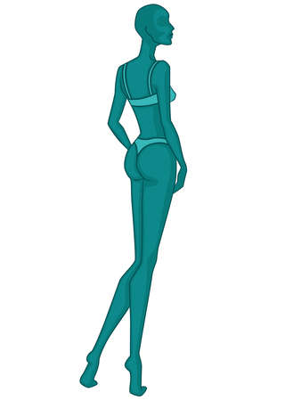 Abstract silhouette of elegant lady in underwear, vector illustration in turquoise hues isolated on white background, side view