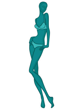 Abstract silhouette graceful and slender lady in lingerie, vector illustration in turquoise hues isolated on white background