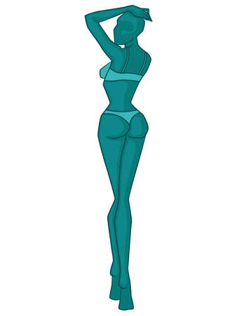 Abstract silhouette of slender woman in lingerie, in turquoise hues isolated on white background, back view