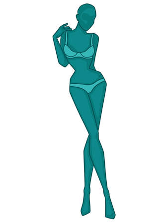 Abstract silhouette of slender woman in underwear, vector illustration in turquoise hues isolated on white background