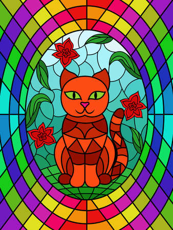 Colorful stained glass with funny cartoon cat sitting among the flowers, decoration on glass for children Vettoriali