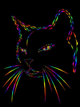 Mosaic of a contour cat's head in bright colors of the spectrum isolated on the black background, decoration on glass for children Ilustracja