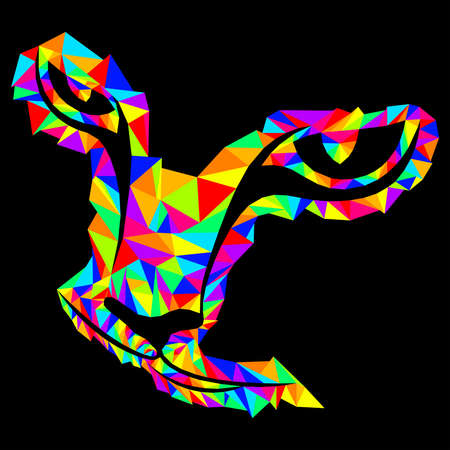 Colorful mosaic of a silhouette cat's head in bright colors isolated on the black background, decoration on glass for children