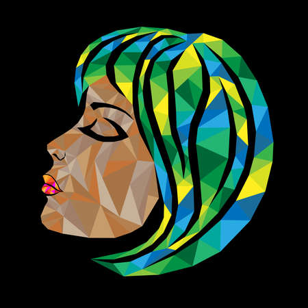 Mosaic face of a beautiful woman with closed eyes and hair in yellow, green and blue hues isolated on the black background, view side