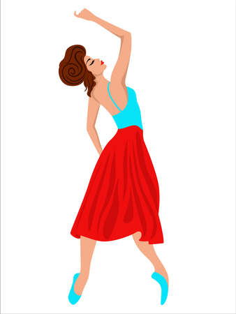 Elegant dancing woman in red and blue dress, hand drawing vector, isolated on the white 向量圖像