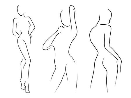 Abstract of the bodies of three charming women, isolated on the white background, hand drawing outline Vektorgrafik