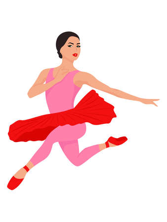 Elegant ballerina in red and pink tutu dress in jump, hand drawing vector, isolated on the white background