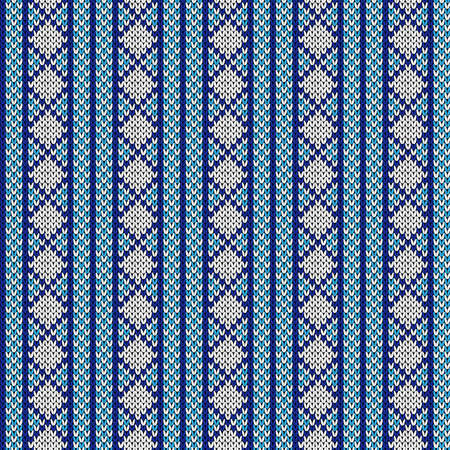 Seamless knitting ornate with swirl elements in blue and white hues, vector pattern as a fabric texture Illustration