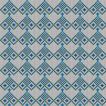 Knitting seamless vector pattern as a fabric texture in turquoise, blue and white color as a fabric texture