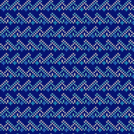 Ornate knitting seamless vector pattern in contrast blue hues as a fabric texture