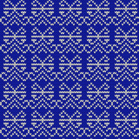 Ornamental knitting seamless vector pattern in bright blue and white hues as a fabric texture Illustration