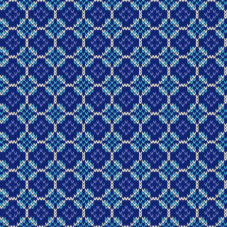 Geometrical ornate seamless knitted vector pattern as a fabric texture in blue hues Illustration