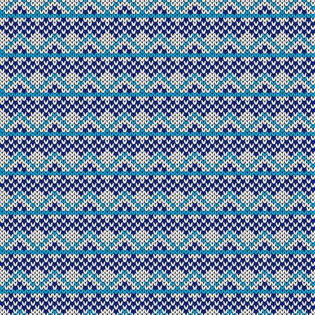 Geometrical ornate seamless knitted vector pattern as a fabric texture in blue and white colors