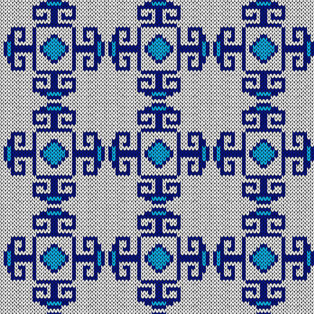 Ornamental knitting seamless vector pattern in blue and white hues as a fabric texture