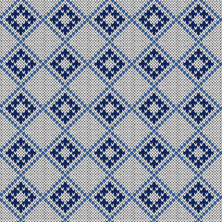 Seamless knitting ornate with swirl elements in muted blue and white hues, vector pattern as a fabric texture Illustration