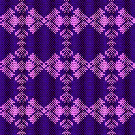 Seamless knitting ornate in violet hues, vector pattern as a fabric texture