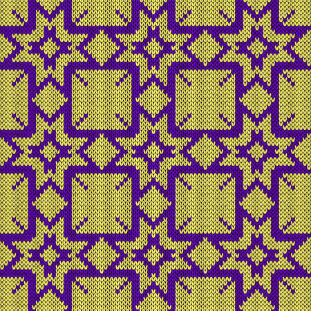 Seamless knitting ornate with snowflakes in violet and yellow hues, vector pattern as a fabric texture