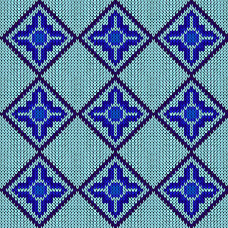 Ornamental knitting seamless vector pattern in blue hues as a fabric texture