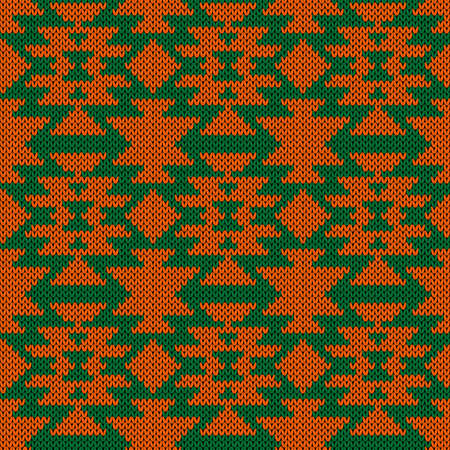 Knitting seamless vector pattern as a fabric texture in green and orange color as a fabric texture