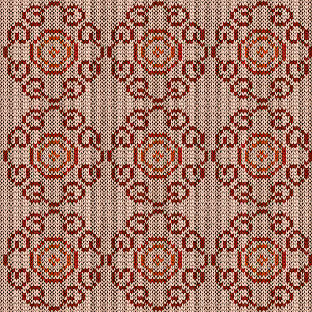 Seamless knitted ornate vector pattern in beige, orange and brown colors as a fabric texture Illustration