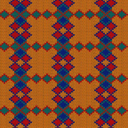 Geometrical ornate seamless knitted vector pattern as a fabric texture in blue, turquoise, red and orange colors