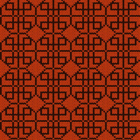 Ornate knitting seamless vector pattern in brown and orange hues as a fabric texture