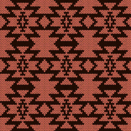 Ornamental knitting seamless vector pattern in brown and orange hues as a fabric texture
