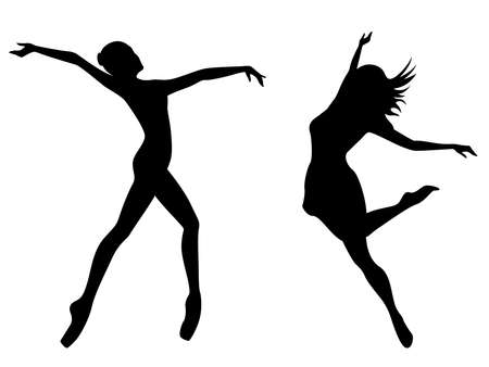 Abstract attractive slender ladies dancer black stencil silhouettes in dress, hand drawing vector illustration