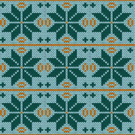 Seamless knitting pattern in muted blue, orange and turquoise hues, vector pattern as a fabric texture