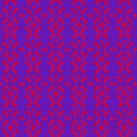 Geometrical ornate seamless knitted vector pattern as a fabric texture in violet and pink colors