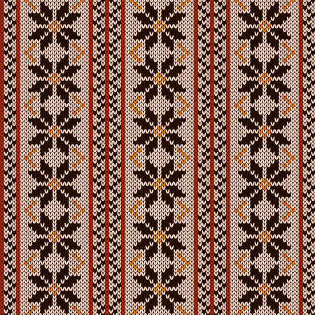Seamless knitting ornate in beige, brown and orange hues, vector pattern as a fabric texture Illustration