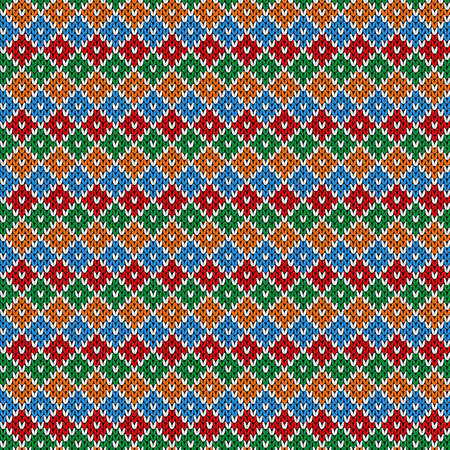 Seamless knitting colorful ornate in blue, red, green and orange colors, vector pattern as a fabric texture Illustration