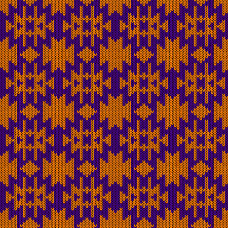 Knitting seamless vector pattern as a fabric texture in violet and orange color as a fabric texture