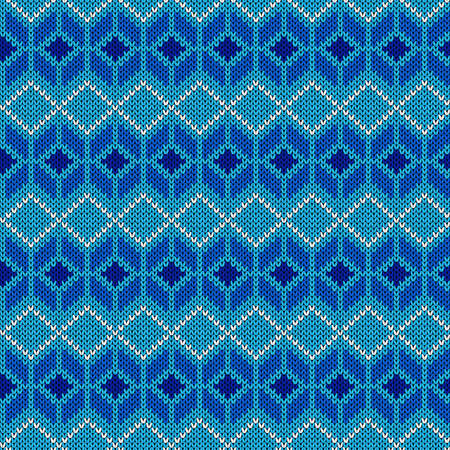 Seamless knitting pattern in blue and white hues, vector pattern as a fabric texture