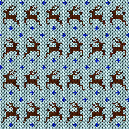Seamless knitted vector pattern with deer as a fabric texture in blue and white hues